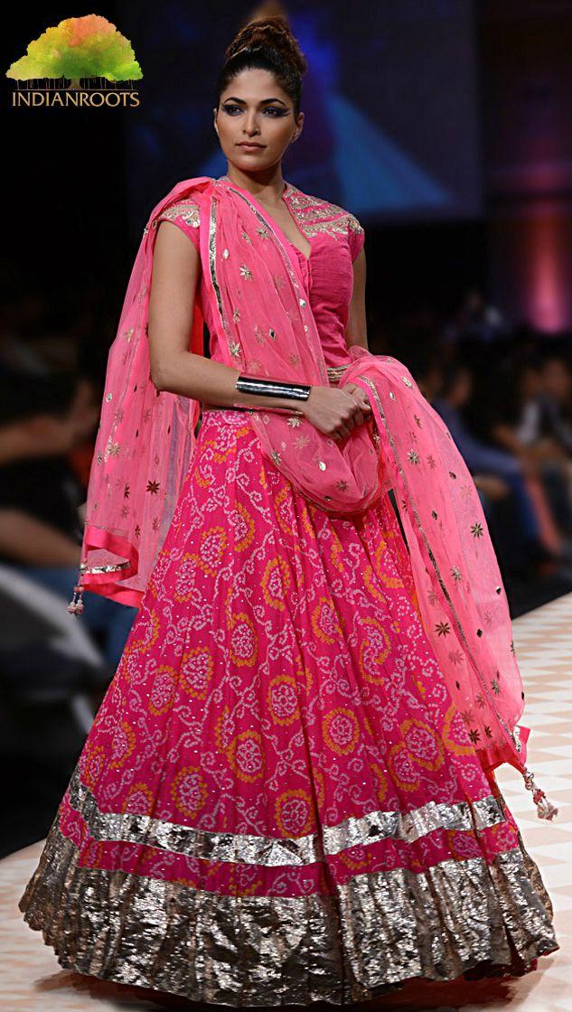 #Pink #Jaipur #Bandhini #Lehenga Set by Anita Dongre at Indianroots.com