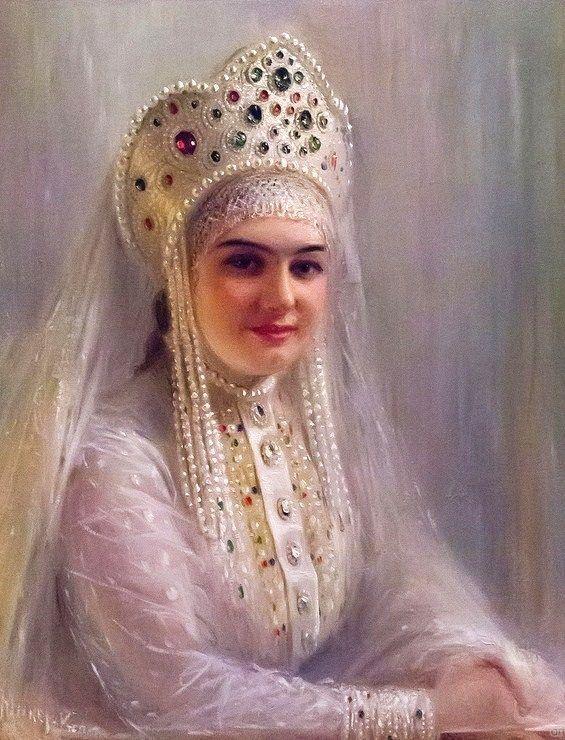 """Russian costume in painting. """"Girl in a Kokoshnik"""" by Sofia Yunker-Kramskaya, late 19th – early 20th century. #art"""