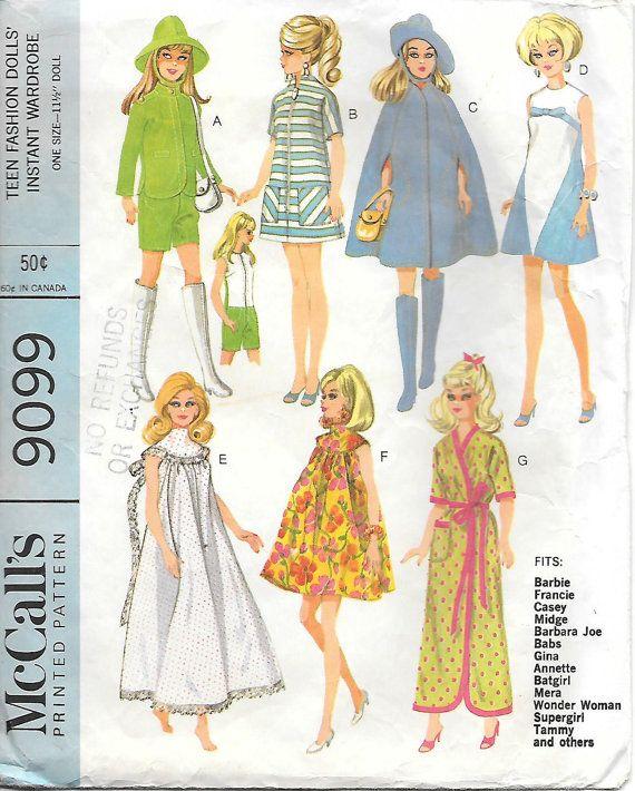McCalls 9099 1960s Barbie Wardrobe Vintage Sewing Pattern,  by GrandmaMadeWithLove