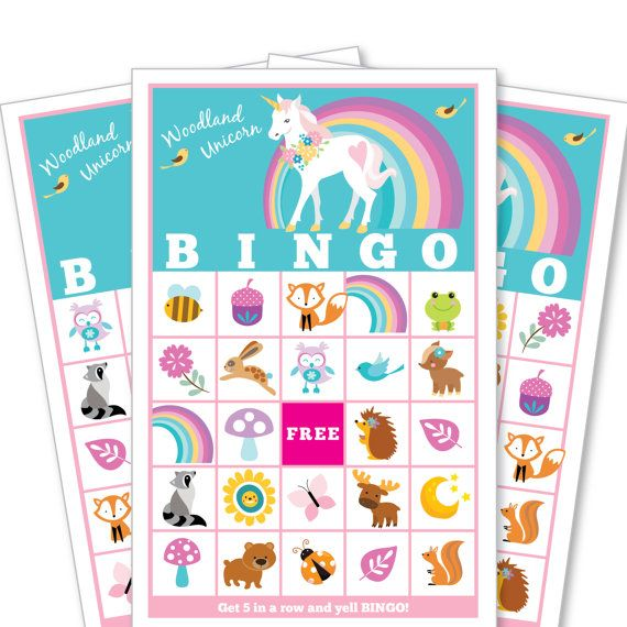 Woodland Unicorn BINGO Game Kid's Printable by crazyfoxpaper