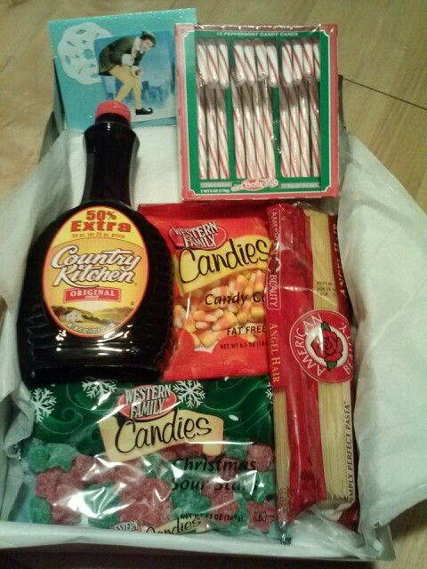 Best white elephant gift ever! An elf's diet - candy, candy canes, candy corns, and syrup...and spaghetti!
