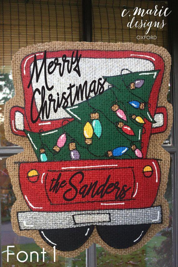 Christmas Truck Burlap Door Hanger & 25+ unique Burlap door hangers ideas on Pinterest | Burlap door ... pezcame.com