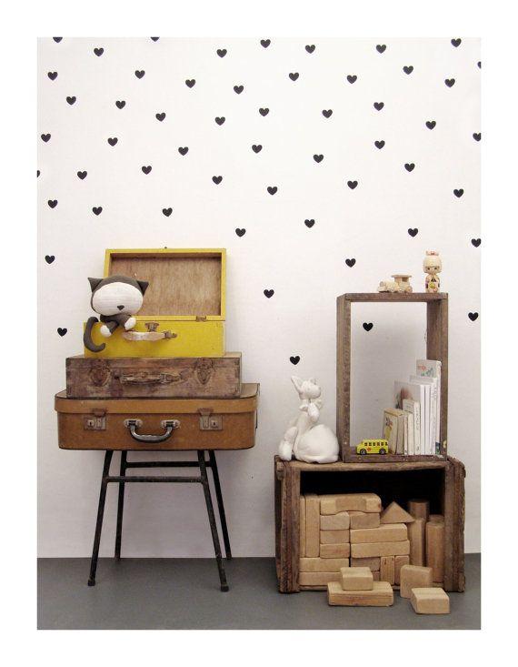Black heart wall decals wall sticker vinyl wall by tayostudio, $12.00