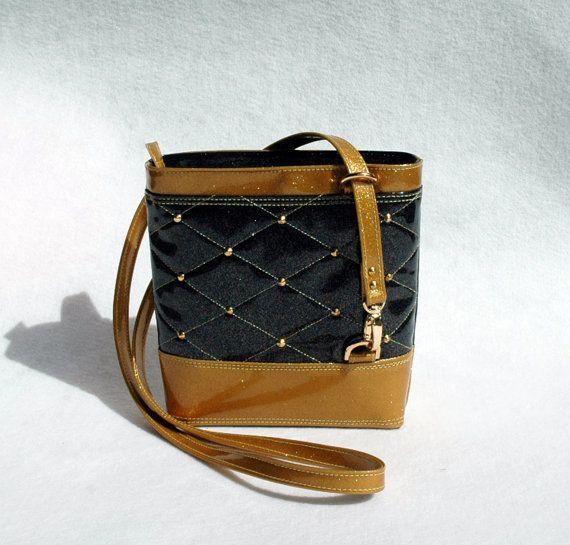 #Black & #Gold Glitter Vinyl #Crossbody #Bag #Glitter Bag Vinyl Bag So Kwaint Bag Black and Gold Bag Black Bag #Vegan Bag #FauxLeather #Handbag #Handbags #Tote #Fashion #Perth #SoKwaint