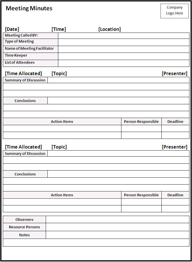 minute formats templates - meeting minutes 672 917 pixels pto school
