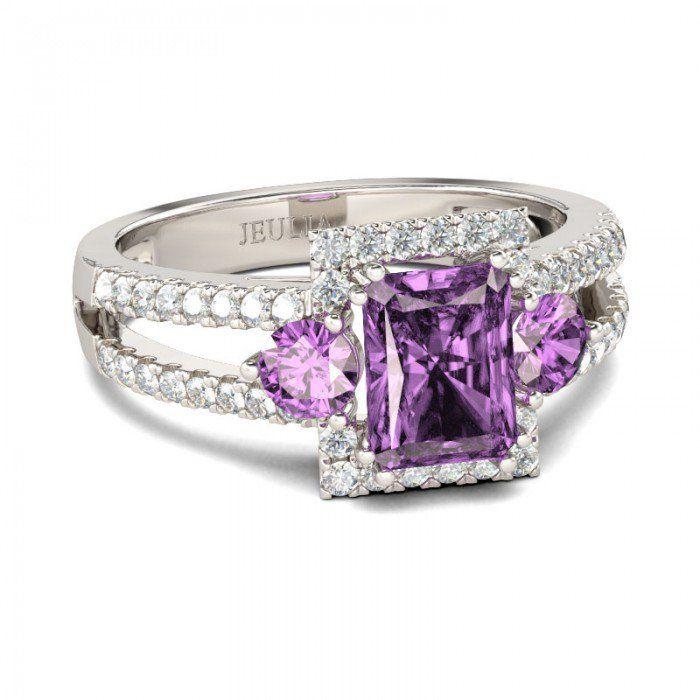 Three Stone Halo Radiant Cut Created Amethyst Engagement Ring