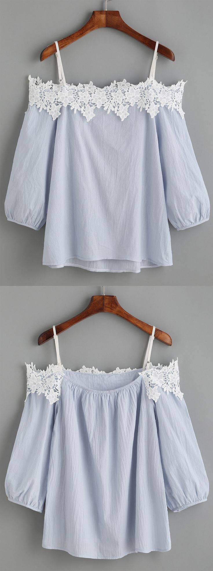 The white appliques will show your amazing collarbone. #LightBlue #ColdShoulder #Appliques #Blouse
