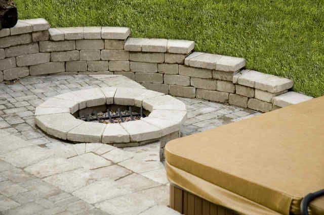 Landscape Design Pictures - Paver Patio, Fire Pit, Spa, and Sitting ...