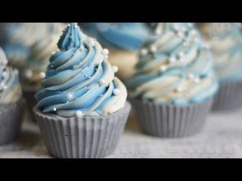 Making Alpine Frost Cold Process Soap Cupcakes - YouTube