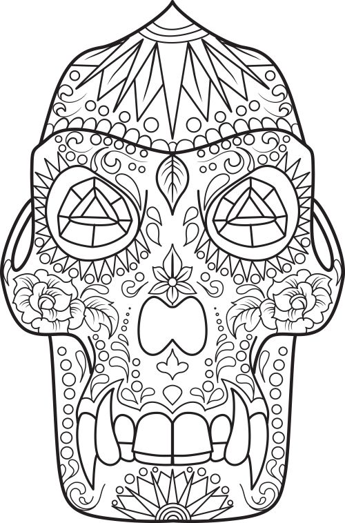 64 best Sugar Skull Coloring Pages images on Pinterest