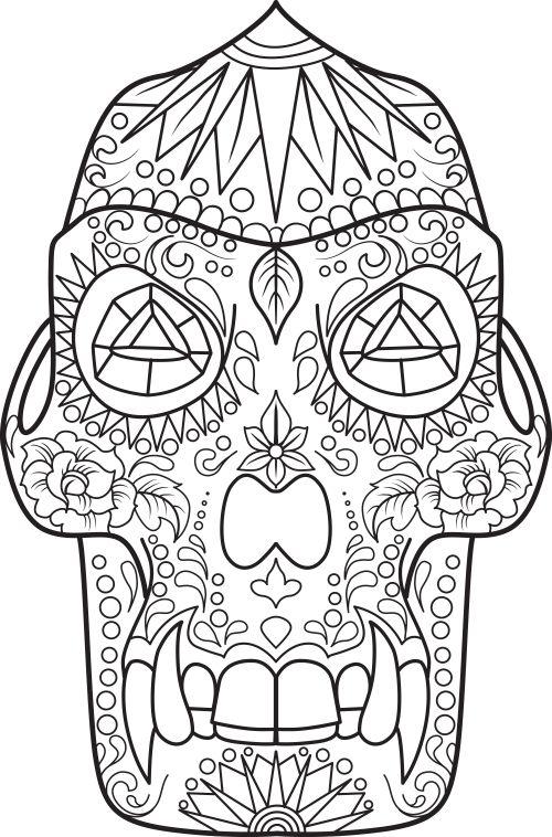 sugar skull coloring page 17 - Simple Sugar Skull Coloring Pages