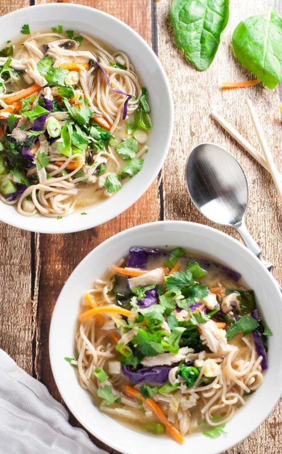 Miso Broth Bowl with Whole Wheat Noodles | A trendy broth bowl recipe combines colors, flavors, and delicious textures! The proportions are flexible so make it as you like it! Everyone can create their own special combo!