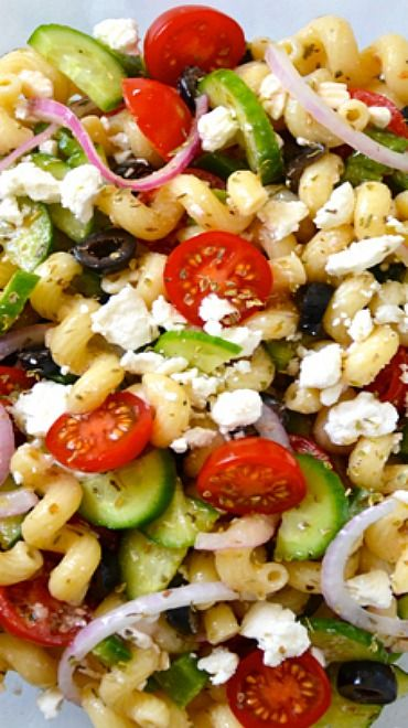 Greek Pasta Salad (box) Uses pasta, green beans, celery, red onion, feta, kalamata olives, tomatoes. Also add cucumbers and avocado.