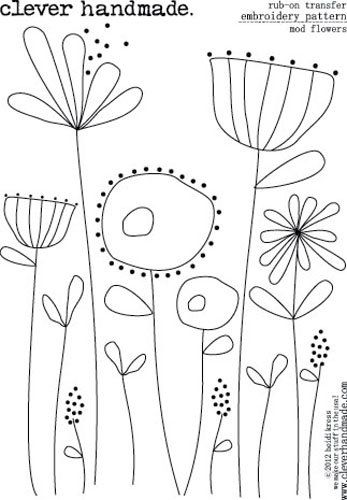 Clever Handmade - Embroidery Patterns - Rub Ons - Mod Flowers
