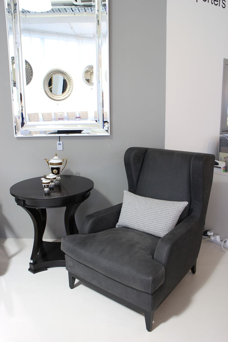 Grey Armchair Made in Italy by Marac, Saratoga Side Table made in Ecuador by La Galeria. Available at Sarsfield Brooke