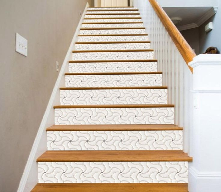 58 Cool Ideas For Decorating Stair Risers: 3D White Windmill 0084 Marble Tile Texture Stair Risers