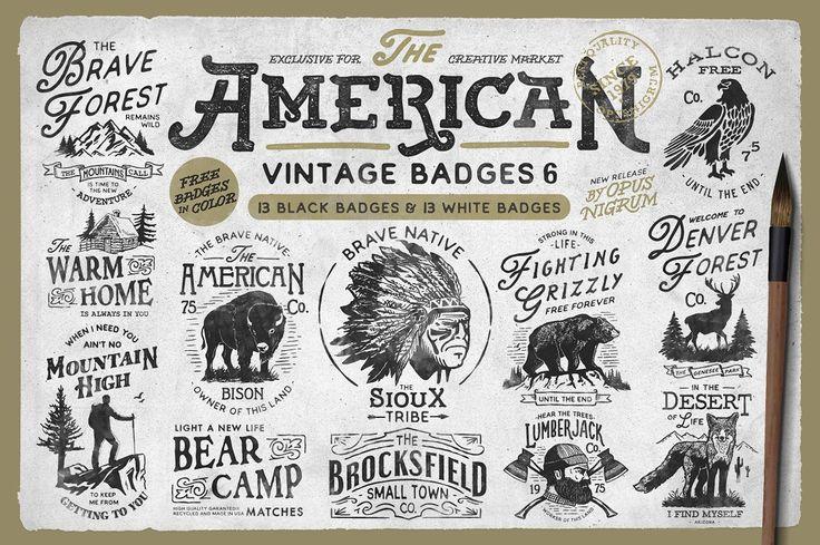 American Vintage Badges 6 by OpusNigrum on @creativemarket