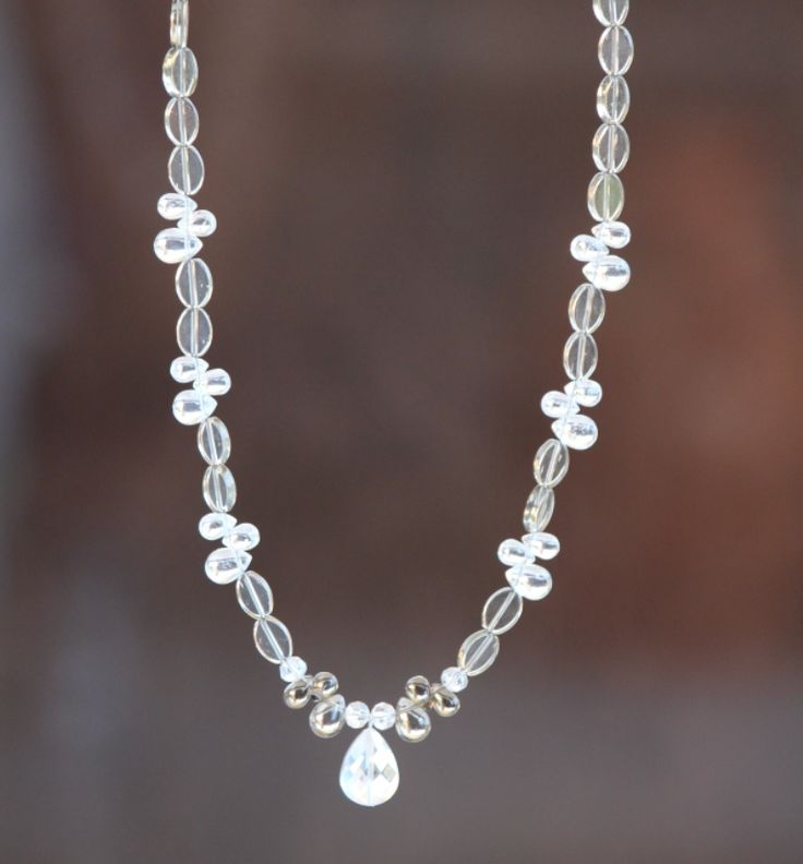 White necklace with crystals. https://www.facebook.com/heartbeadsjewellery