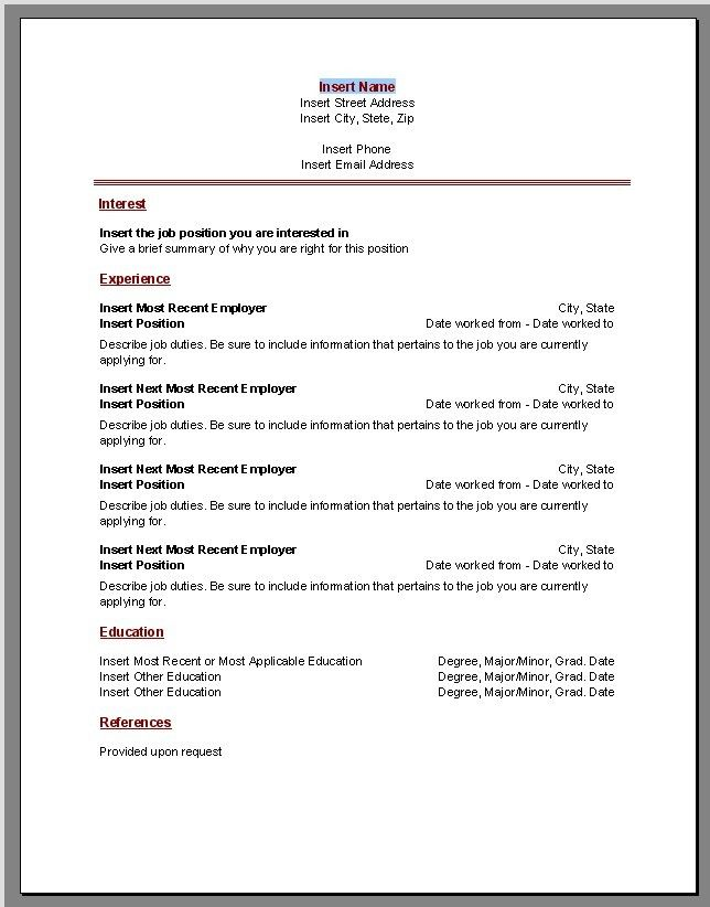 Resume Templates On Word  Templates
