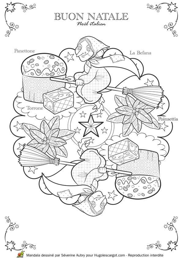 Coloriage / dessin Mandala de Noël italien avec la Befana, le Panettone