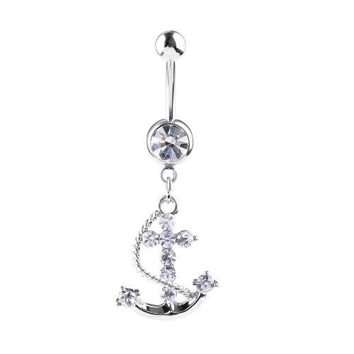 Belly Ring Anchor Gems Stones 14G Belly Button Ring Piercing