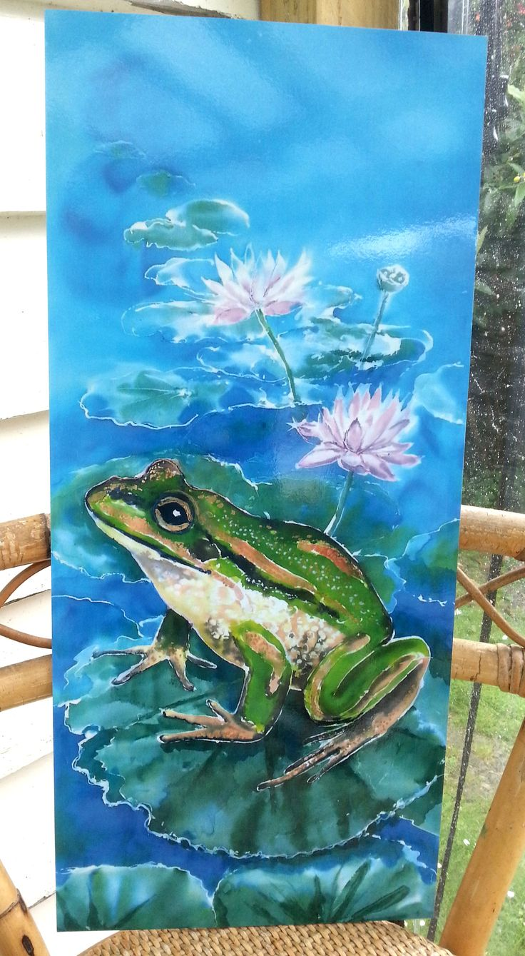 FROG in LOTUS LILY Pond, Outdoor Garden Patio Wall Art, Green FrogNew Zealand, Aluminium Panel from my original silk painting weatherproof by KaySatherleyArt on Etsy