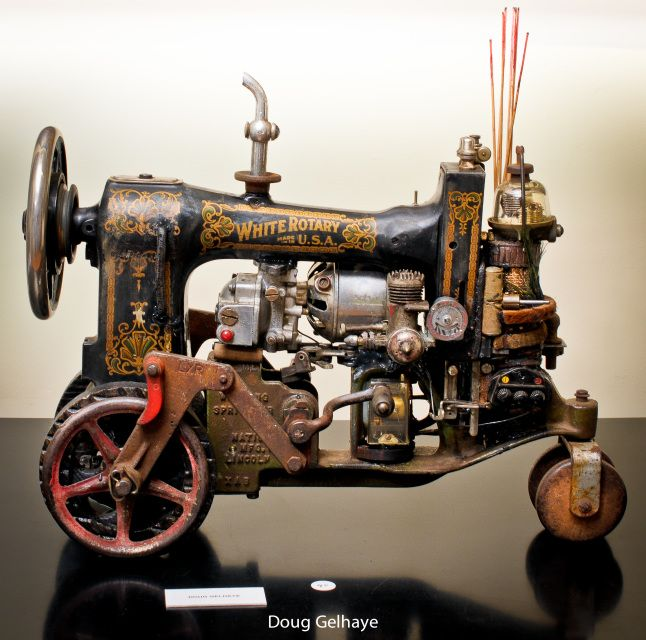 steampunk! tricycle made from a white brand sewing machine and other industrial goodies!!!!! so talented....Featured Products - Doug Gelhaye