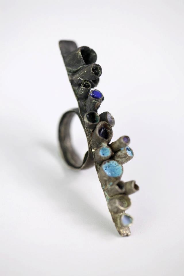 Camille Walton Blue, Ring, 2012 Oxidized silver, enamel