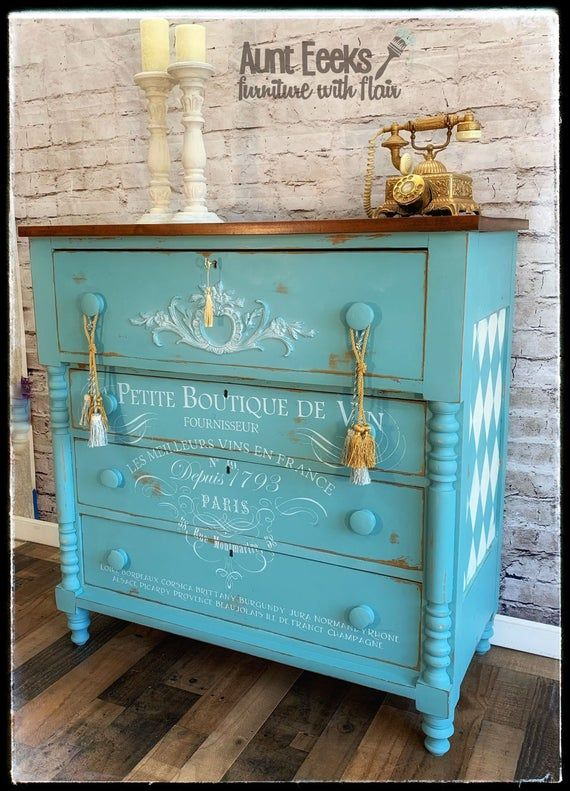 Hand Painted Antique Chest Of Drawers Etsy Refinishing Furniture Diy Antiquing Furniture Diy Diy Barbie Furniture