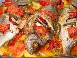 Dourada no forno com pimentos e uma dieta em curso