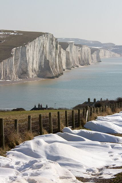 Seven Sisters coastline in Winter