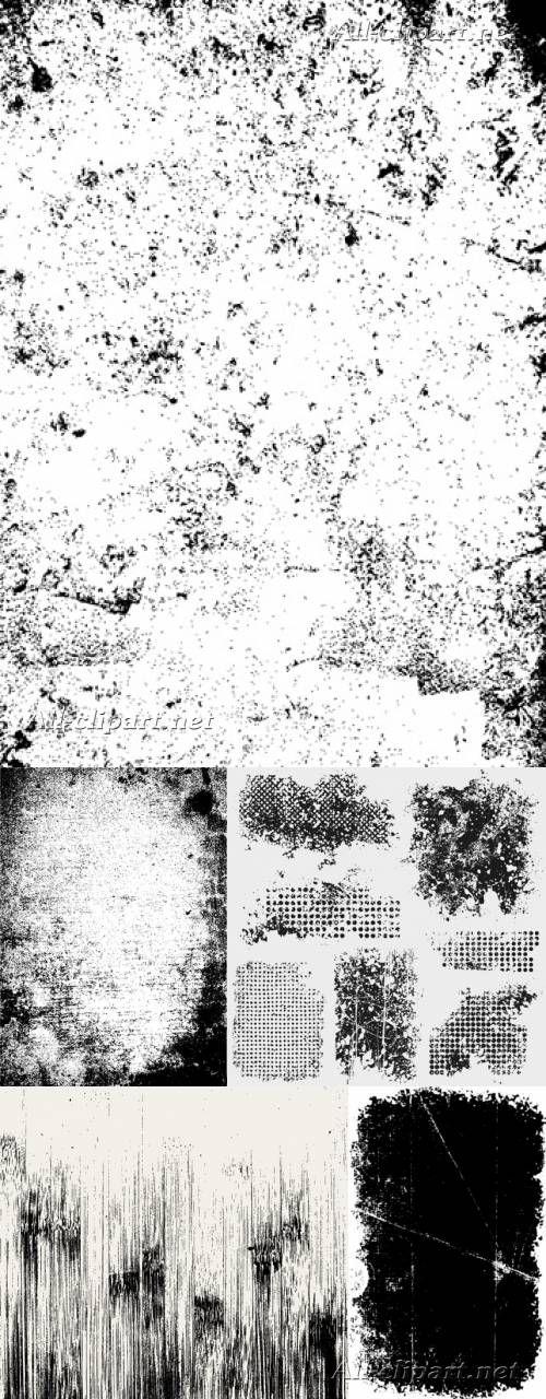 Чёрно-белые грандж текстуры | Stock Vectors - Grunge Textures