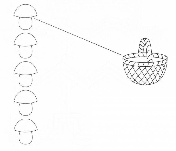 Проведи прямые линии от каждого грибочка до корзинки