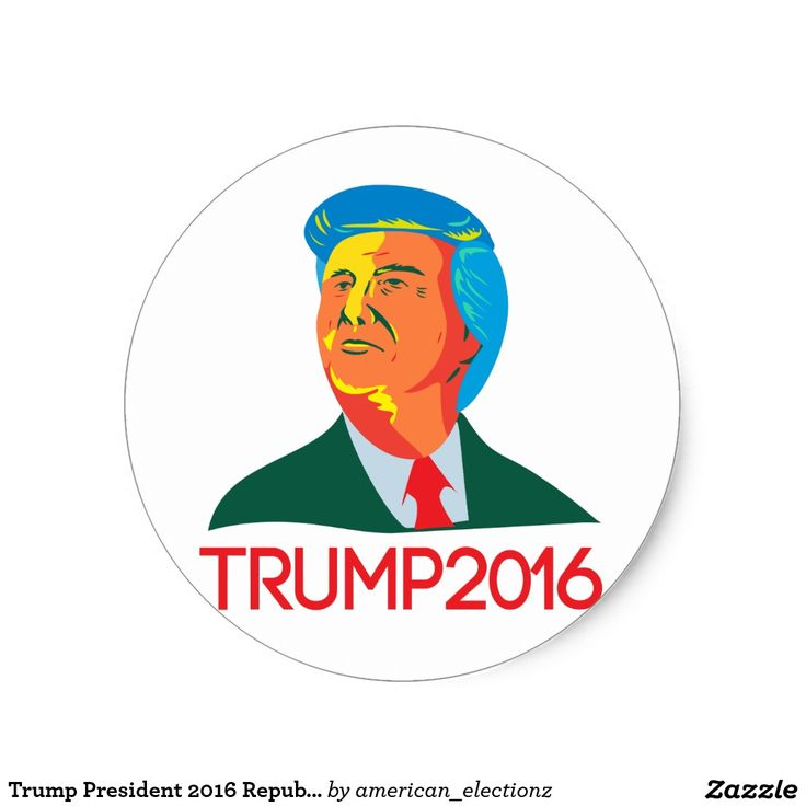 """Trump President 2016 Republican Retro Classic Round Sticker. 2016 American elections retro classic round sticker with an illustration showing the bust of American real estate magnate, television personality, politician and Republican 2016 presidential candidate Donald John Trump with the words """"Trump 2016"""" done in retro style. #Trump2016 #republican #americanelections #elections #vote2016 #election2016"""