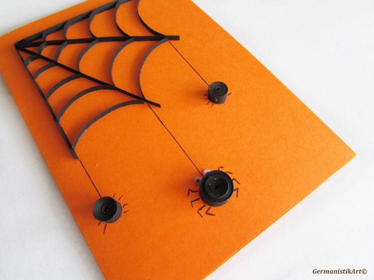 halloween spider card quilled black spider web card blank halloween quilling card pinned - Halloween Spiders