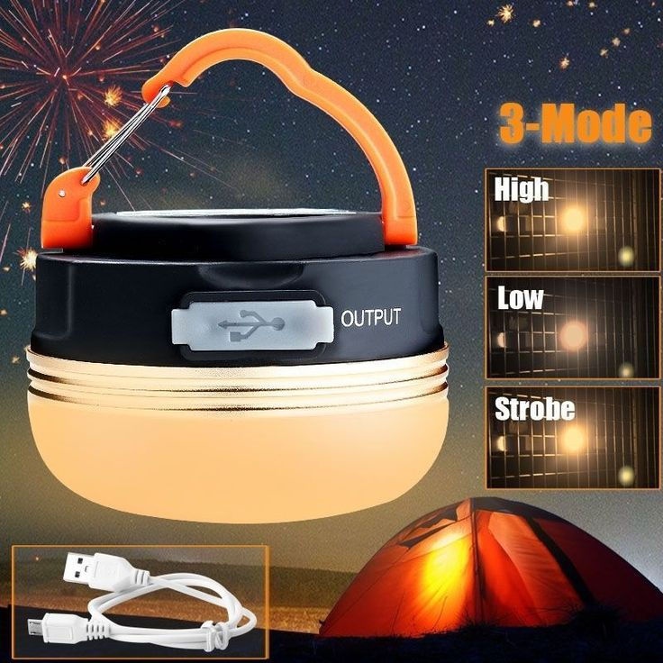 180 Lumens Outdoor Portable 5 LED USB Hiking Camping Lantern Tent Yellow Night Light 3 Modes Rechargeable Hanging Lamp+Usb Cable