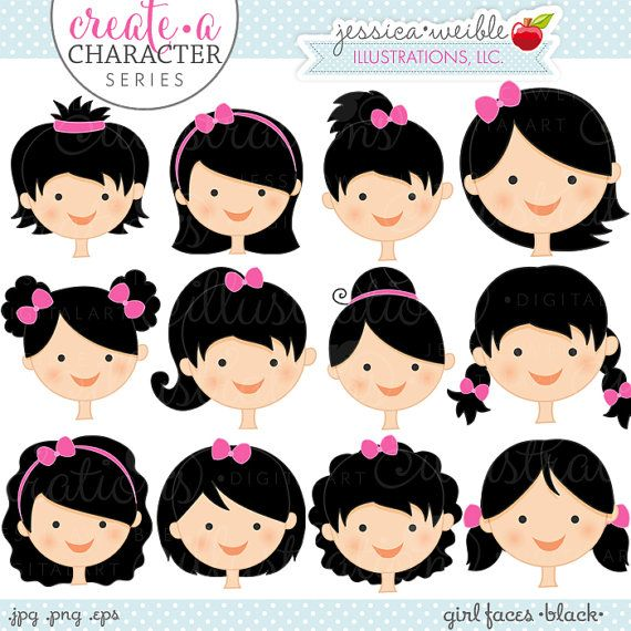 Black Hair Girl Faces Create A Character por JWIllustrations