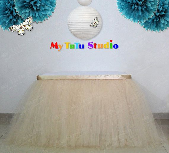 Champagne Tulle Table Skirt Table TuTu for by MyTuTuStudio on Etsy