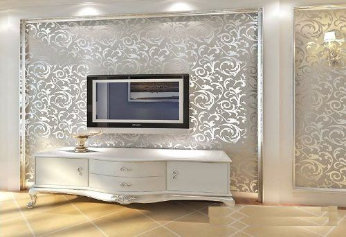 """High-grade Flocking Victorian Damask/embossed Wallpaper Roll Silver and Gray Color QH Wallpaper 0.53m(20.8"""")*10m(32.8')=5.3㎡(57sqfeet): Amazon.co.uk: Kitchen & Home"""