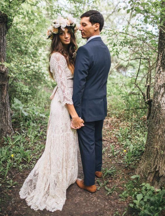 f449d1f2efb Vintage-Inspired Hippie Maxi Lace Bohemian 3 4 Long Sleeve Wedding Dresses  2018 Crochet V-neck Beach Boho Cheap Wedding Gowns Plus Size