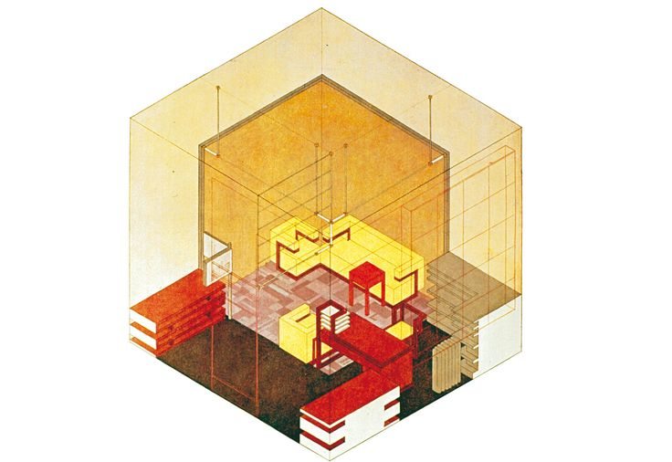 Two-Point Perspective Drawing of Gropius' office at Bauhaus School. All of the furniture is designed by Gropius except the rug and the wall hanging.