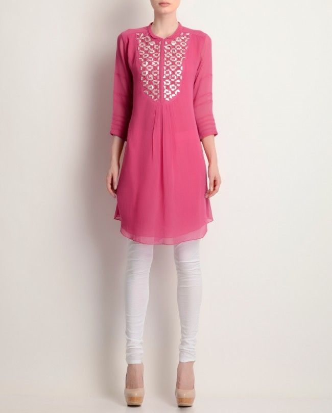 Cherry Pink Embroidered Tunic - AM:PM - Designers