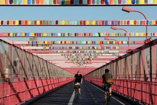 Peter Brock Baji Lives! a public art installation of colored swatches on Williamsburg Bridge #art
