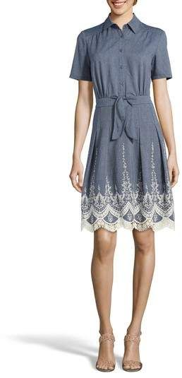 eb5d5a0bb8 ECI Lace Trim Denim Shirtdress Denim Shirt Dress