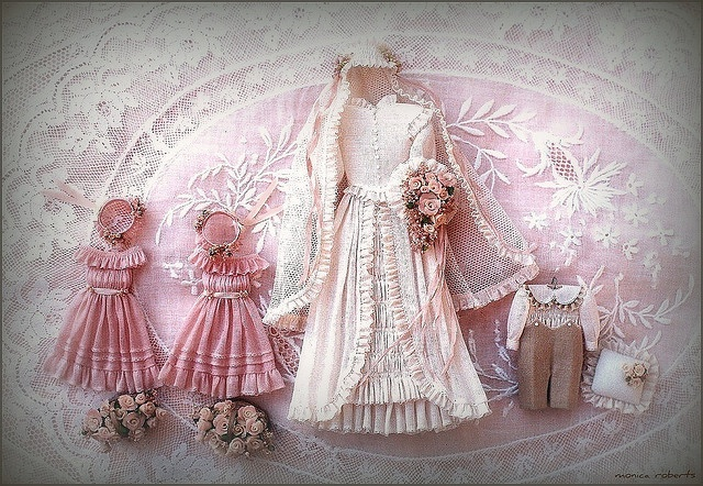 1:12th scale miniature bridal ensemble by Monica Roberts