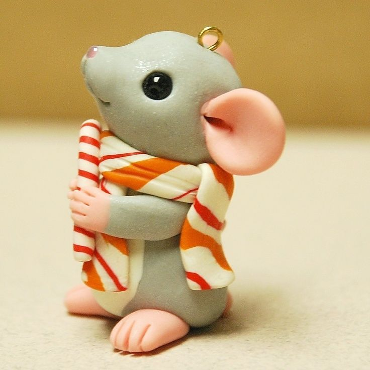 polymer+mouse | POLYMER CLAY ~ Mouse with Candy Cane Ornament ... | Dolls & Miniatur ...