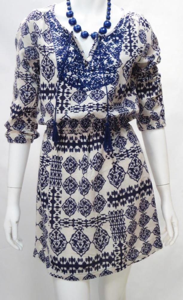 Lucky Brand Blue Ethnic BOHO Beige Mini Dress * #LuckyBrand #Casual