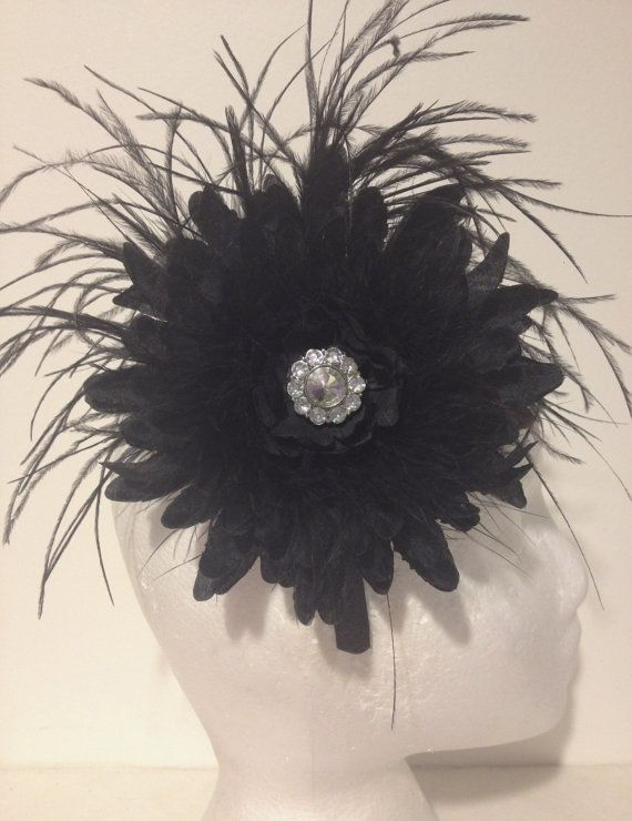 Black Flower Feather Couture Headband Fascinator. Wedding, Bridal Flower Girl Fascinators Fancy Girl BoutiqueNYC  Custom made Fascinators,