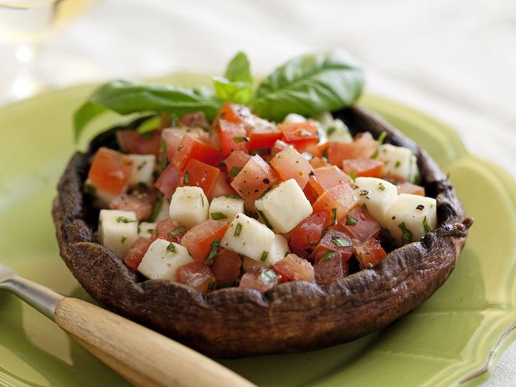 Grilled Portobello Mushrooms with Tomatoes and Fresh Mozzarella from FoodNetwork.com