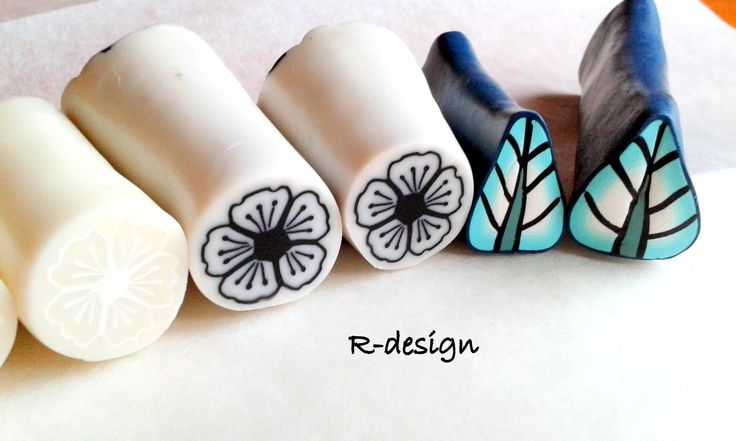 Black and white polymer clay cane   Turquoise leaf